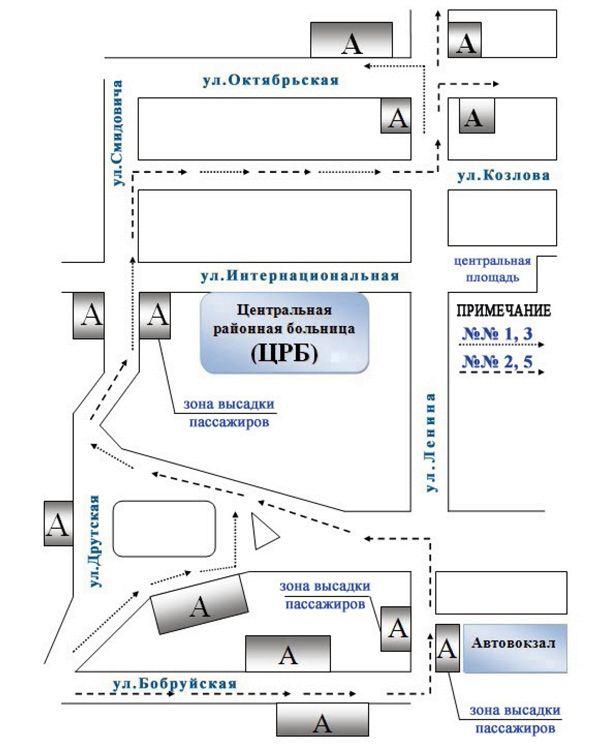 Движение автобусов маршрутов