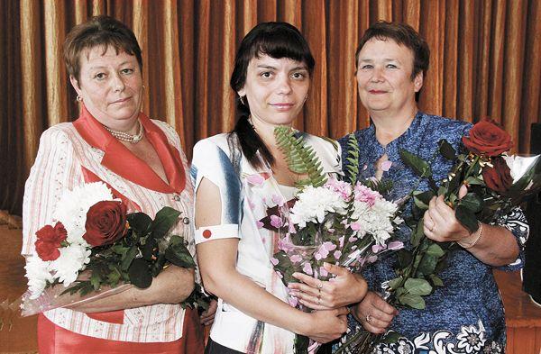 Победители педагогического марафона  (слева направо): Елена ЛОБАН, Светлана ВАСИЛЕВСКАЯ и Валентина МЕЛЬНИКОВА.