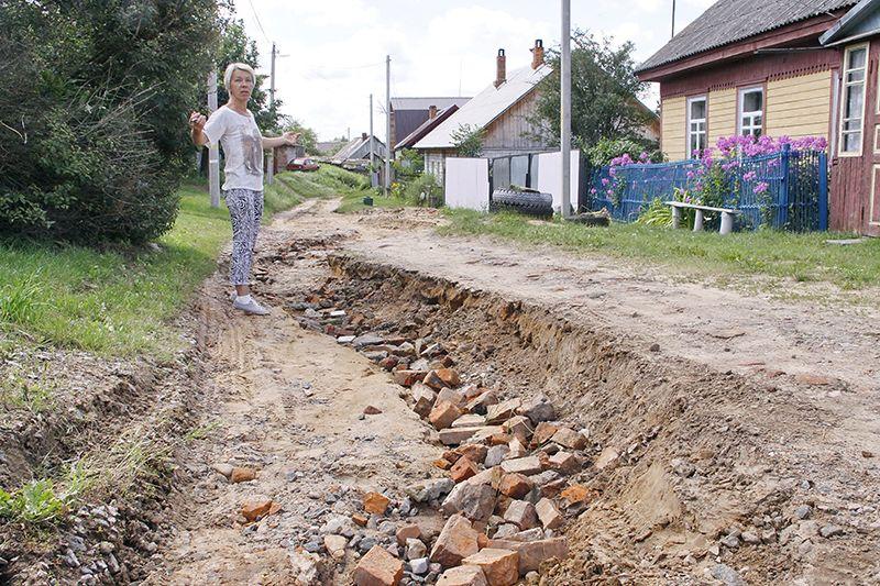 Частично «отреставрированная» силами местных жителей дорога на Нижегородской. Простите, а где асфальт?