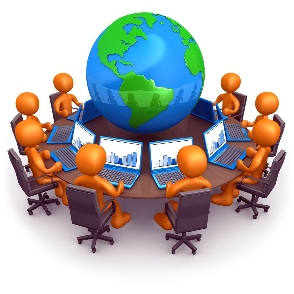 Clipart Illustration of a Group Of Orange People Working On Lapt