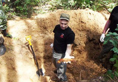Под Рогачёвом найдены фрагменты ИЛ-2 , останки 59 красноармейцев и  две медали «За Отвагу»